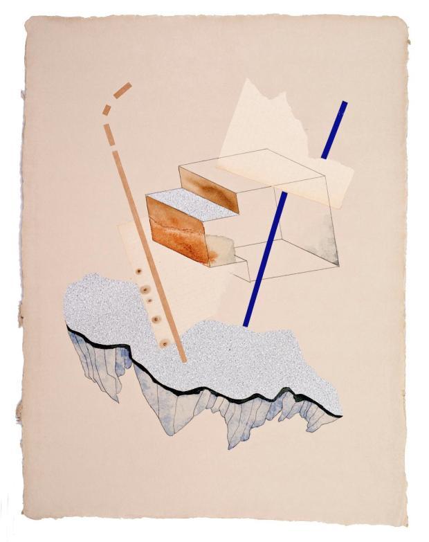 Lena Szczesna_bez tytulu, kompozycja 59_kolaz i akwarela na papierze_30 x 42 cm